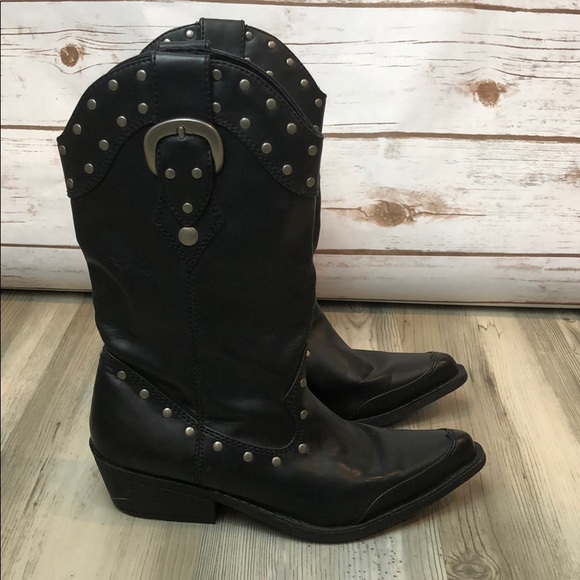 SM New York Shoes - SM New York Studded Cowboy Boots Booties